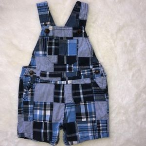 Gymboree plaid short overalls 6-12 months